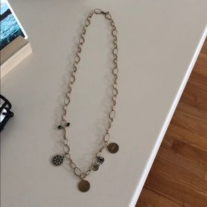 Alex and ani gold link charm necklace